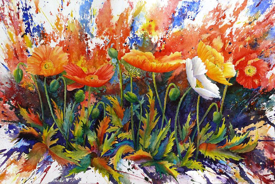 Poppies Painting - Poppy Blast by Karen Mattson