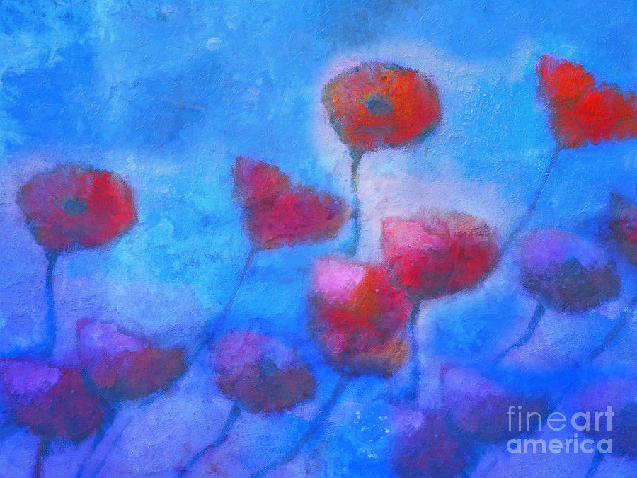 Poppy Painting - Poppy Blues by Lutz Baar