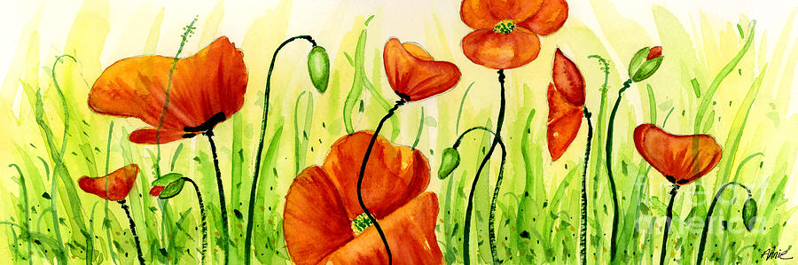 Poppies Painting - Poppy Field by Annie Troe