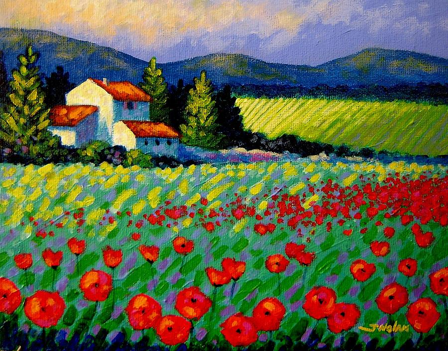 Poppies Painting - Poppy Field - Provence by John  Nolan