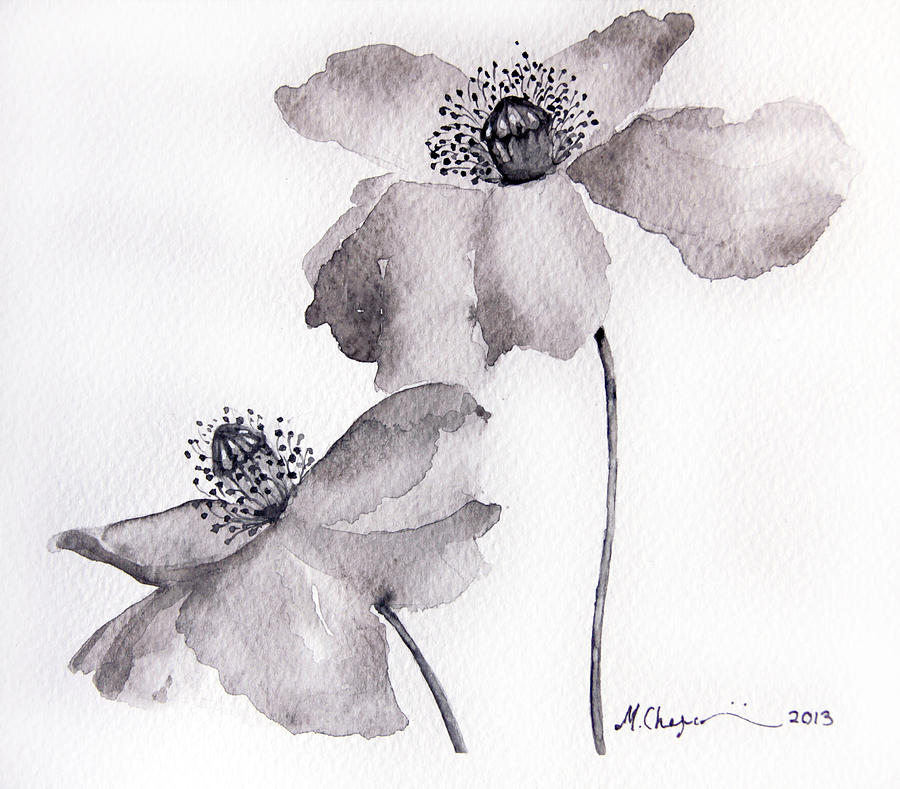 Poppy flower in black painting by mahsa watercolor artist original painting poppy flower in black by mahsa watercolor artist mightylinksfo
