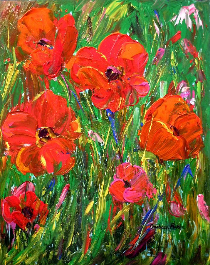 Poppies Painting - Poppy Frenzy by Barbara Pirkle
