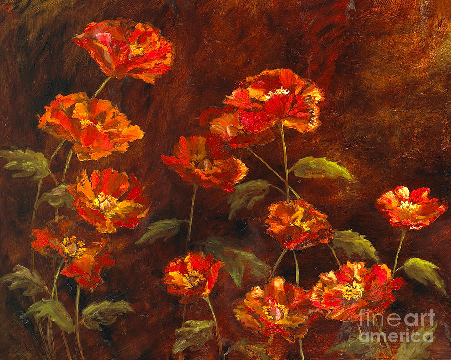 Poppy Garden with Gold Leaf by Vic Mastis by Vic  Mastis