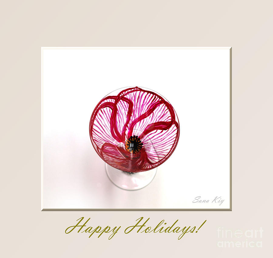 Poppy Glass Art - Poppy. Happy Holidays by Oksana Semenchenko