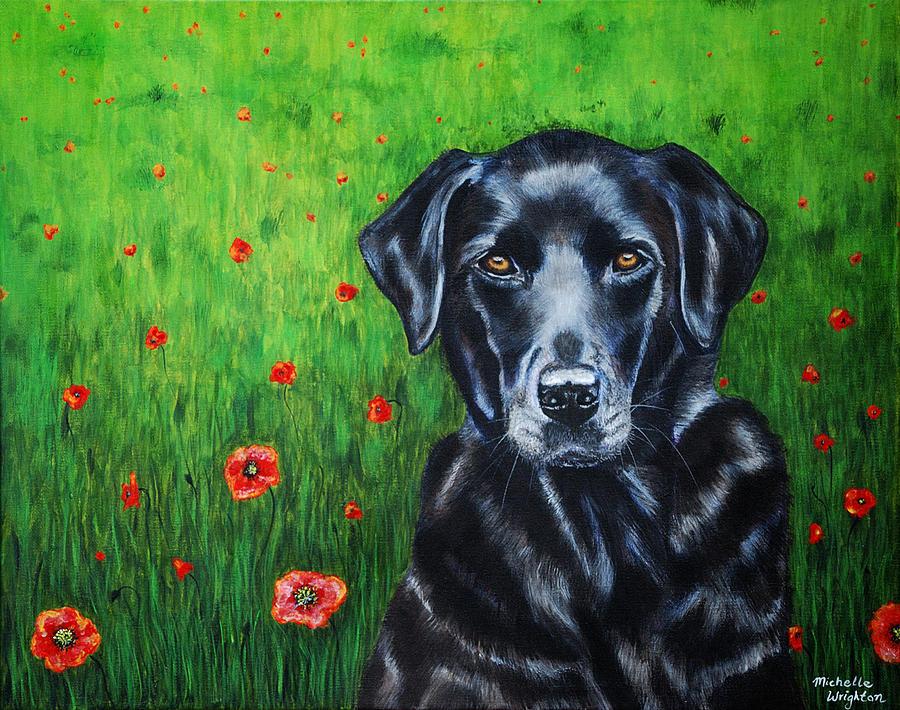 Black Painting - Poppy - Labrador Dog In Poppy Flower Field by Michelle Wrighton