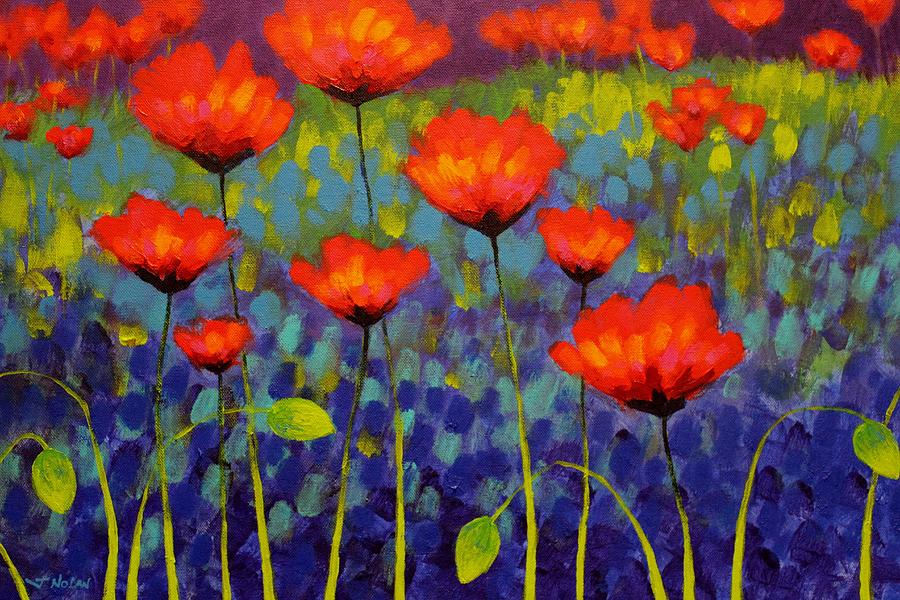 Acrylic Painting - Poppy Meadow   Cropped 2 by John  Nolan