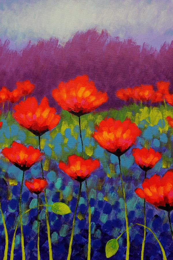 Acrylic Painting - Poppy Meadow   Cropped by John  Nolan