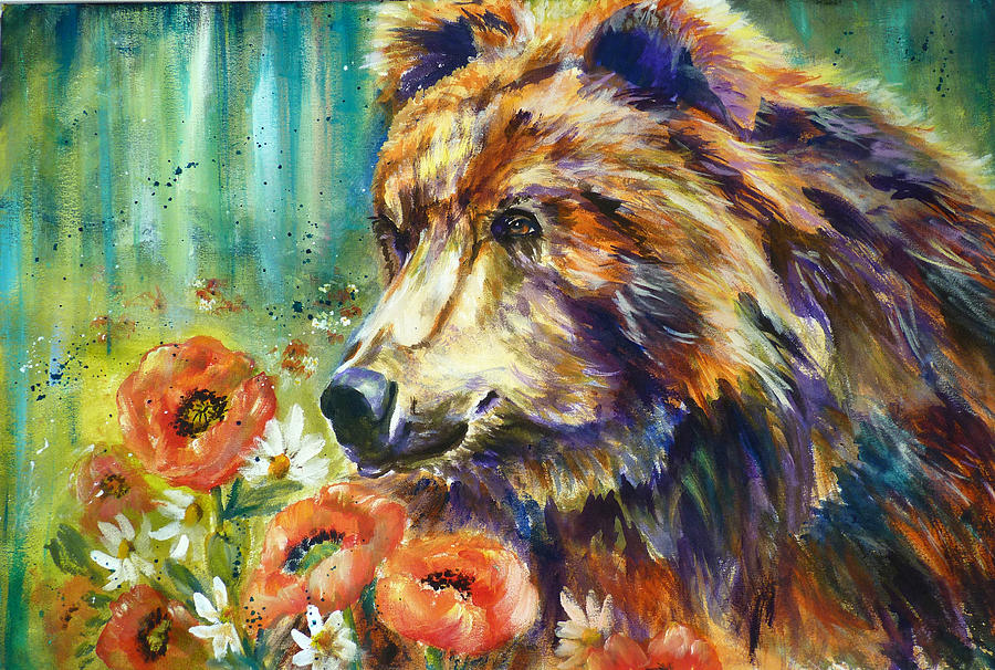 Poppy Mountain Bear Painting - Poppy Mountain Bear by P Maure Bausch