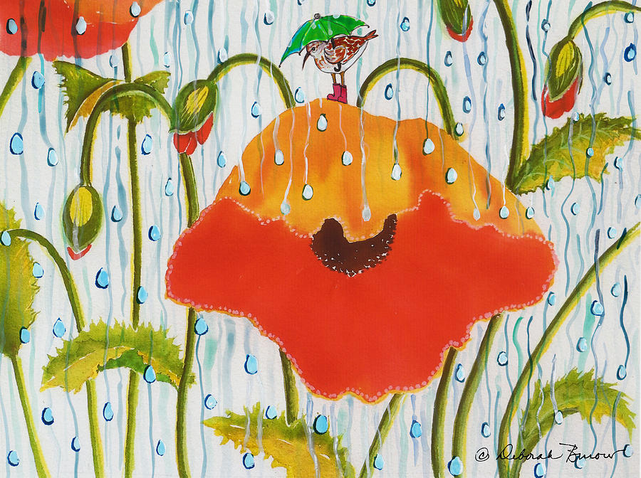 Poppies Painting - Poppy With Piper  In The Rain by Deborah Burow