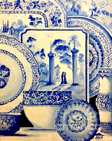 Blue China Painting - Porcelain 3 by Jose Luis Reyes