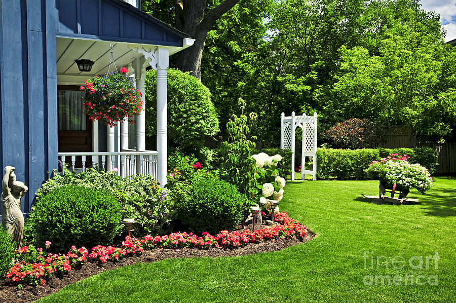 Landscaped Photograph - Porch And Garden by Elena Elisseeva