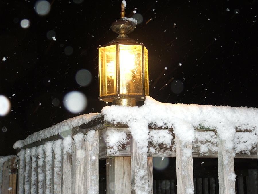 Snow Photograph - Porch Lamp by Nelson Watkins