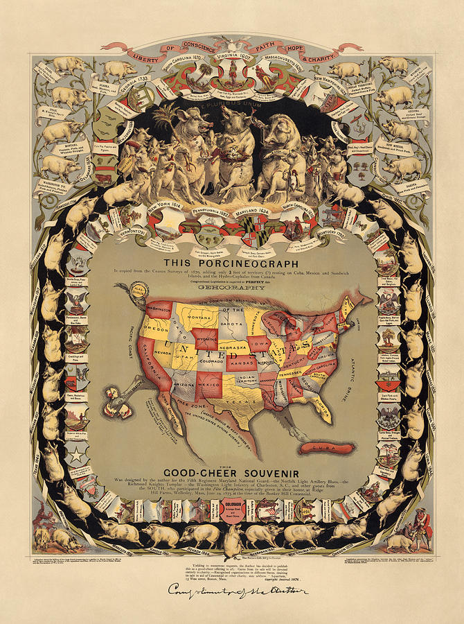 United States Drawing - Pork Map Of The United States From 1876 by Blue Monocle