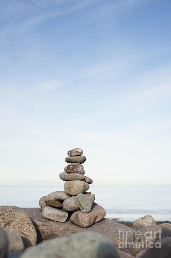 Artificial Photograph - Porlock Weir Stone Stack by Anne Gilbert