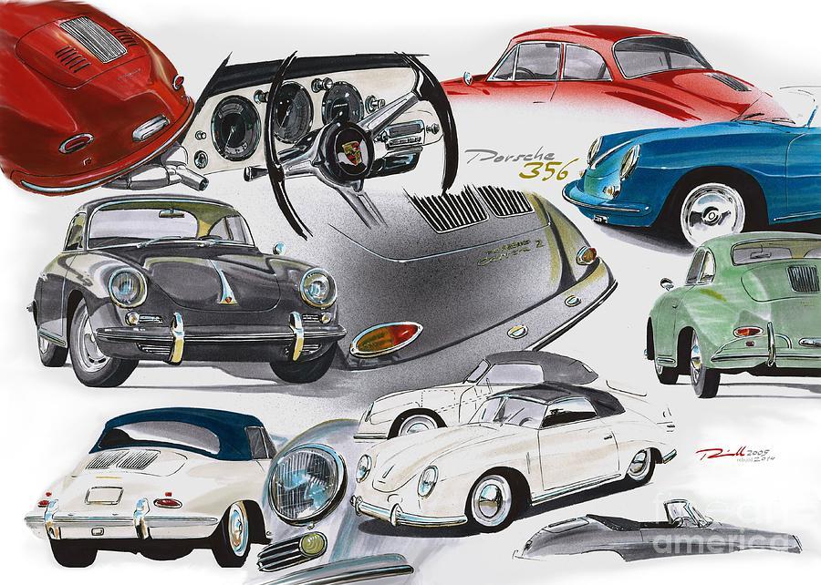 Porsche 356 History Drawing By Reinhold Fine Art