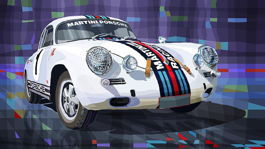 Mix Media Digital Art - Porsche 356 Martini Racing by Yuriy Shevchuk