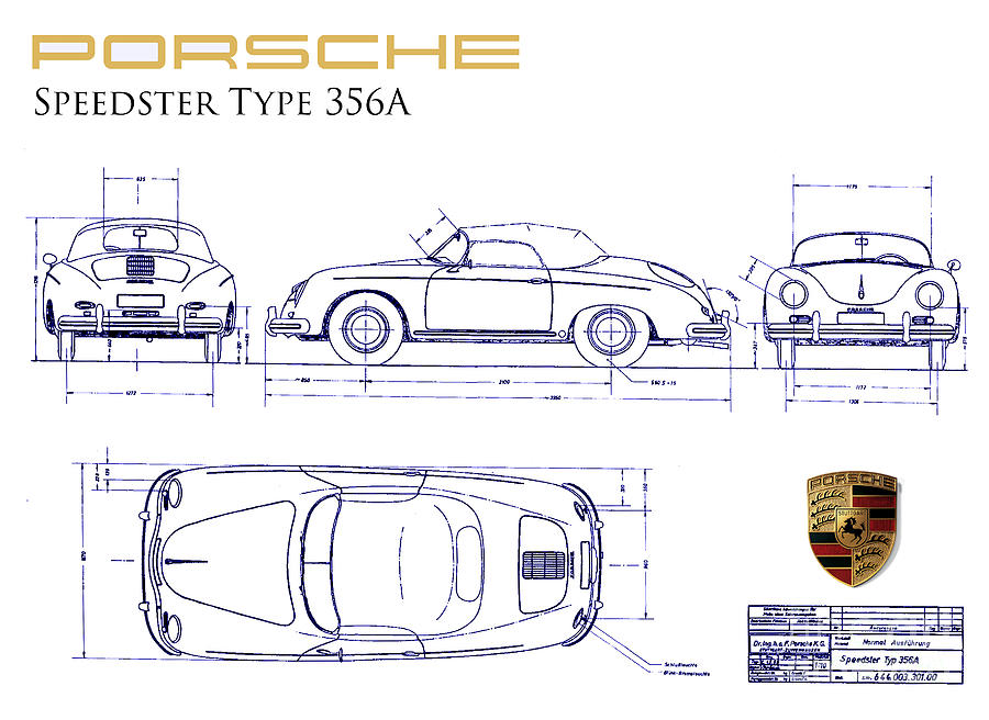 Porsche 356a Blueprint Drawing By Jon Neidert
