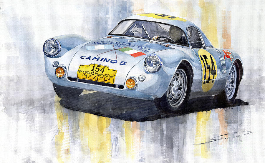 Watercolor Painting - Porsche 550 Coupe 154 Carrera Panamericana 1953 by Yuriy Shevchuk