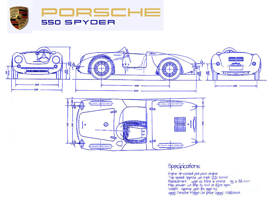 Porsche Drawing - Porsche 550 Spyder Blueprint  by Jon Neidert