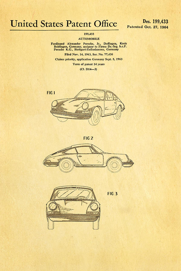 Automotive Photograph - Porsche 911 Car Patent Art 1964 by Ian Monk