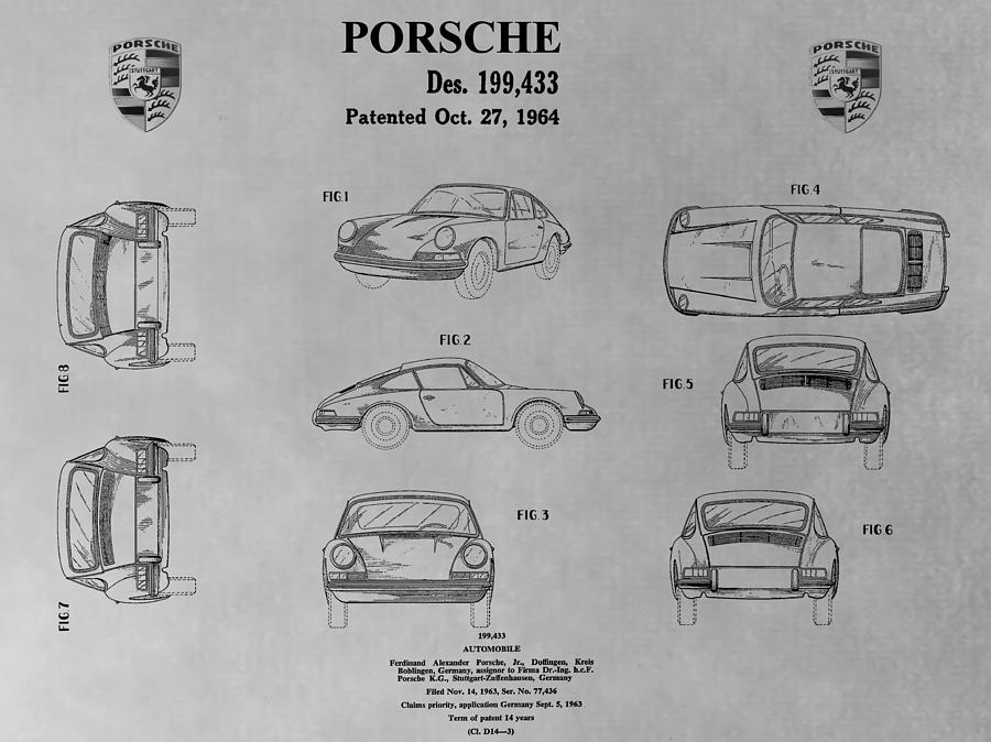 Porsche 911 Patent Drawing By Dan Sproul