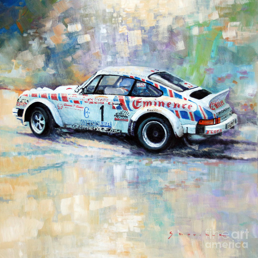 Automotive Painting - Porsche 911 Sc  Rallye Sanremo 1981 by Yuriy Shevchuk