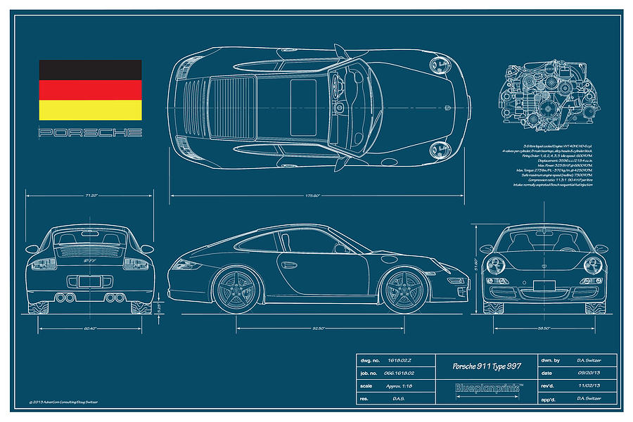 Automotive Drawings Digital Art - Porsche 911 Type 997 Coupe by Douglas Switzer