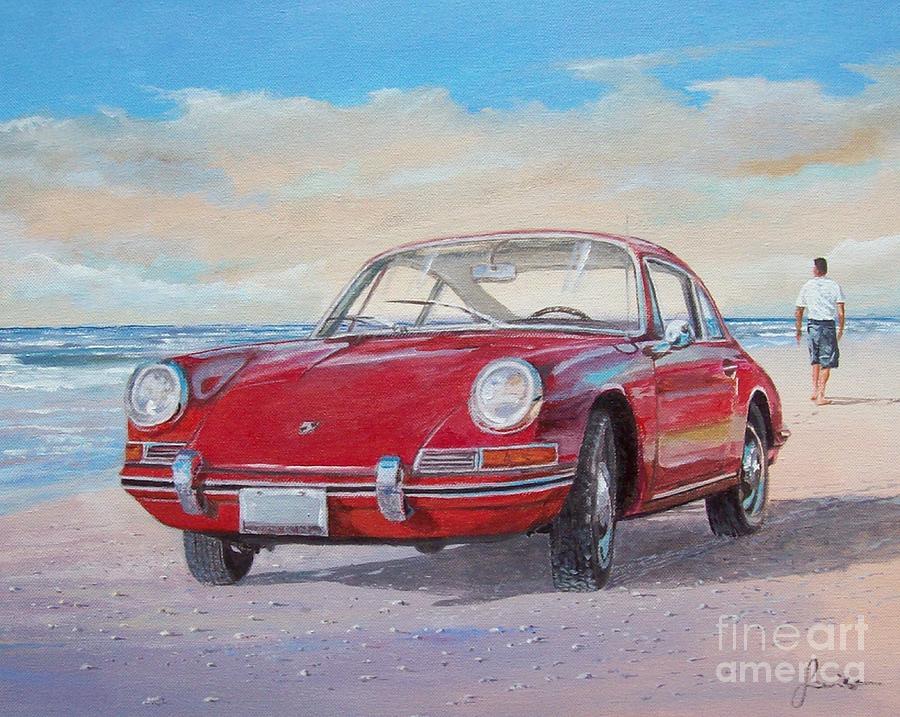 Seascape Painting - 1967 Porsche 912 by Sinisa Saratlic