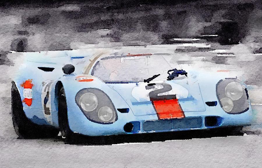Le Mans Painting - Porsche 917 Gulf Watercolor by Naxart Studio