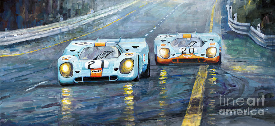 Automotive Painting - Porsche 917 K Gulf Spa Francorchamps 1971 by Yuriy Shevchuk