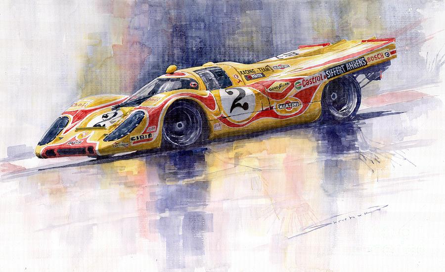 Watercolor Painting - Porsche 917 K Martini Kyalami 1970 by Yuriy Shevchuk