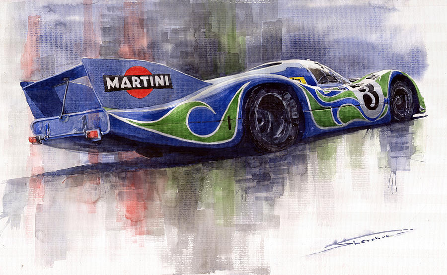 Watercolor Painting - Porsche 917 Psychodelic  by Yuriy Shevchuk