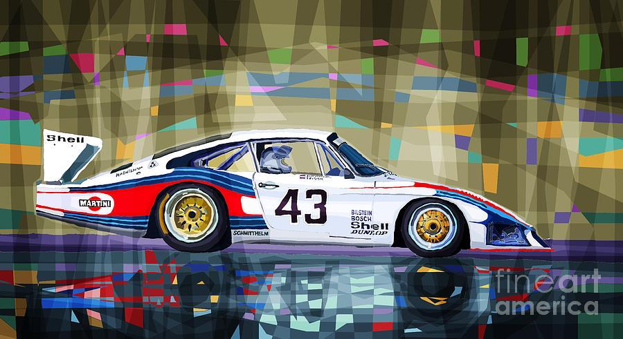 Automotive Drawing - Porsche 935 Coupe Moby Dick by Yuriy  Shevchuk