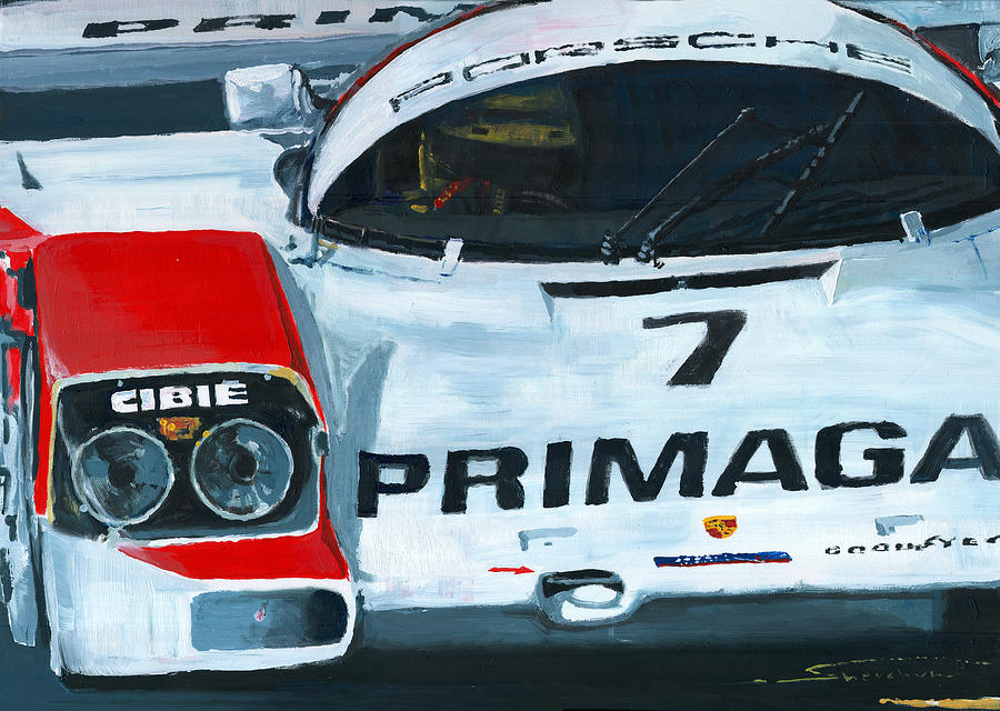 Acrilic On Canvas  - Porsche 962 Le Mans 24 by Yuriy Shevchuk