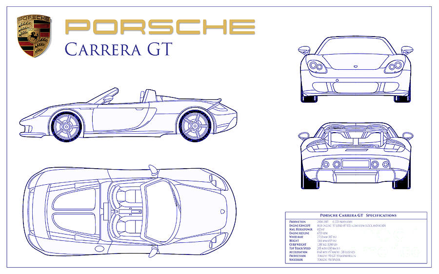 Porsche Carrera Gt Photograph - Porsche Carrera Gt Blueprint by Jon Neidert