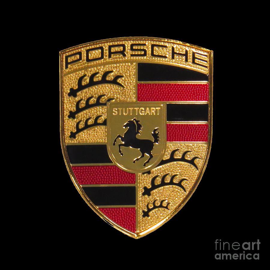 Porsche Emblem Black Photograph By Scott Cameron