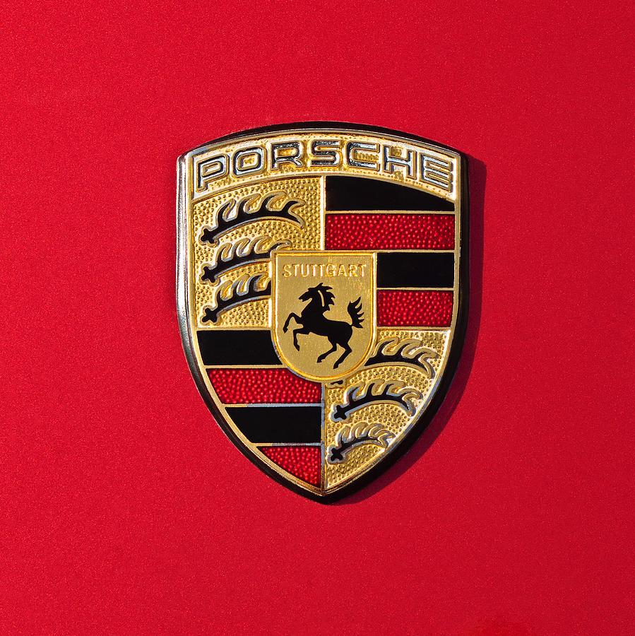Porsche Emblem Photograph - Porsche Emblem -0057cold by Jill Reger