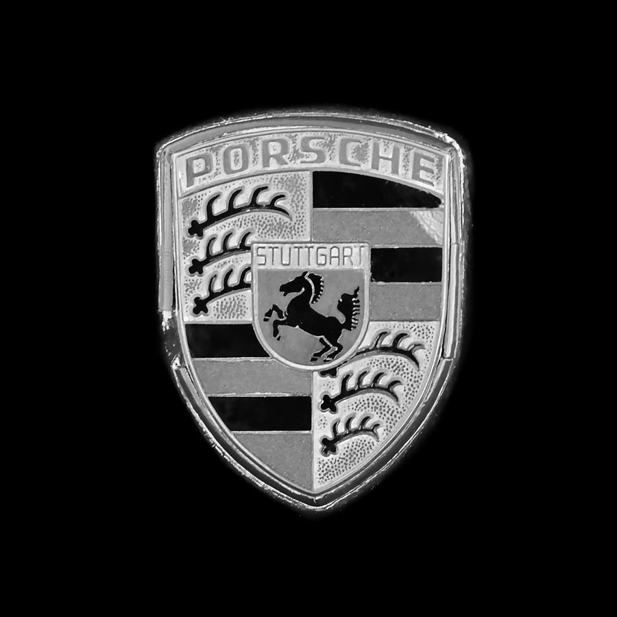 Porsche Emblem Photograph - Porsche Emblem -0179bw55 by Jill Reger