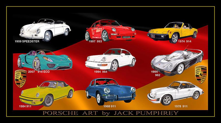 1959 Speedster Painting - Porsche Times Nine by Jack Pumphrey