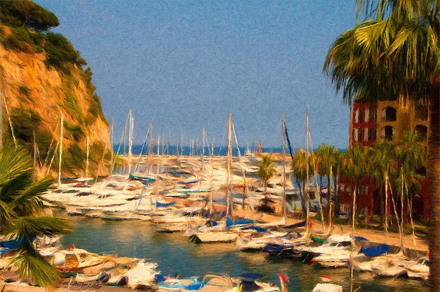 Blue Painting - Port De Fontvieille by Jeffrey Kolker
