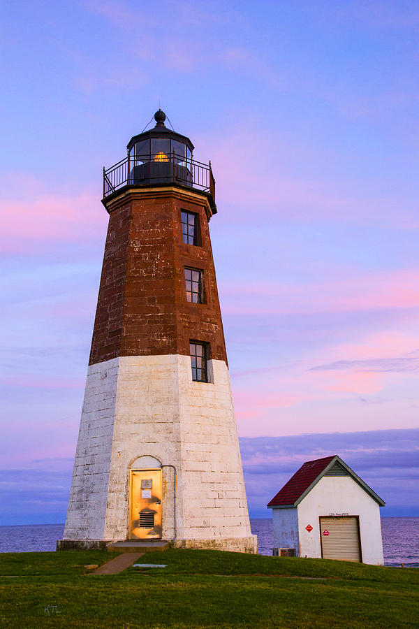 Lighthouse Photograph - Port Judith At Sunset by Karol Livote