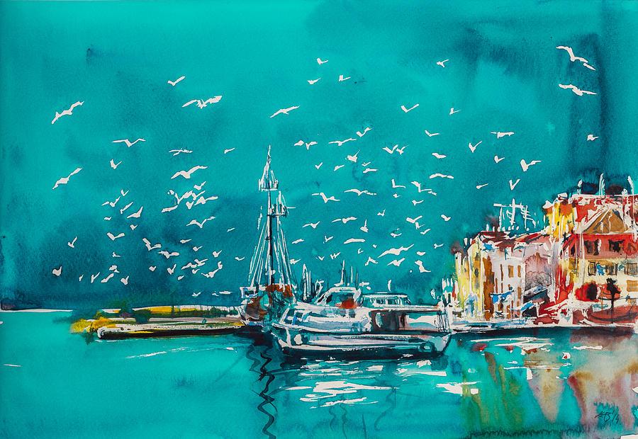 Port Painting - Port by Kovacs Anna Brigitta