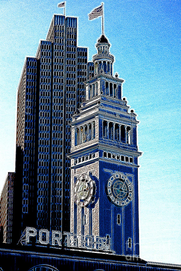 San Francisco Photograph - Port Of San Francisco Ferry Building On The Embarcadero 5d20834 Artwork by Wingsdomain Art and Photography
