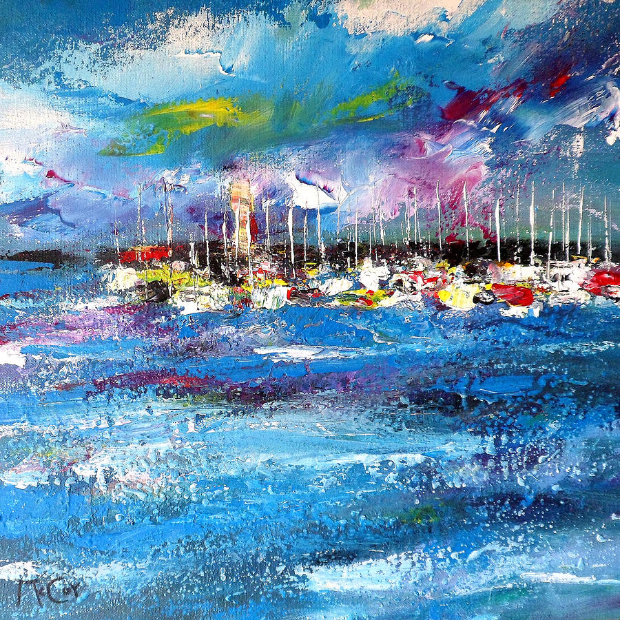 Dramatic Painting - Port Reflections by K McCoy