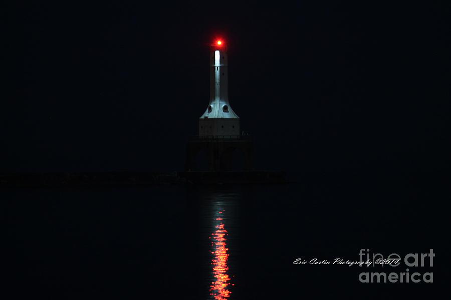 Lighthouse Photograph - Port Washington Night Light. by Eric Curtin