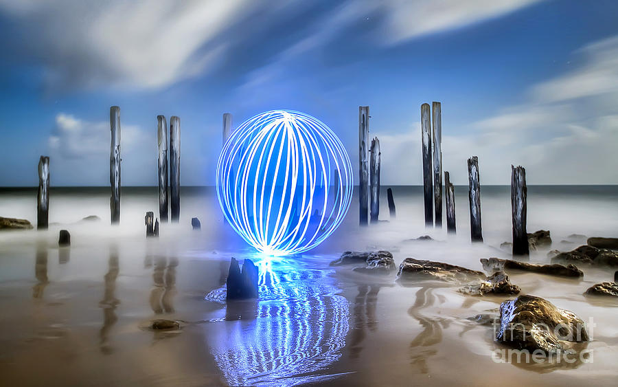 Light. Light Painting Photograph - Port Willunga Orb by Shannon Rogers