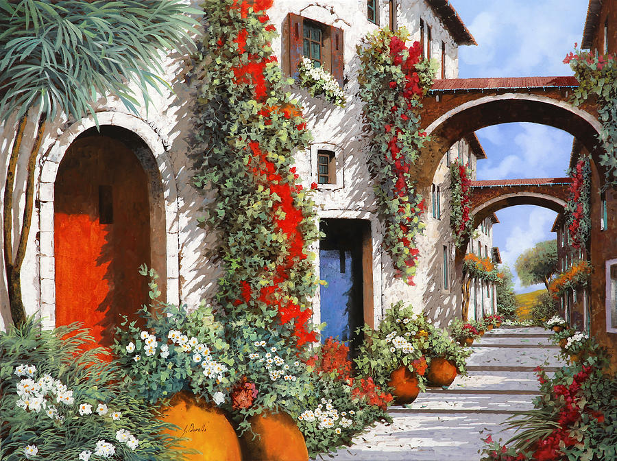 Red Door Painting - Porta Rossa Porta Blu by Guido Borelli