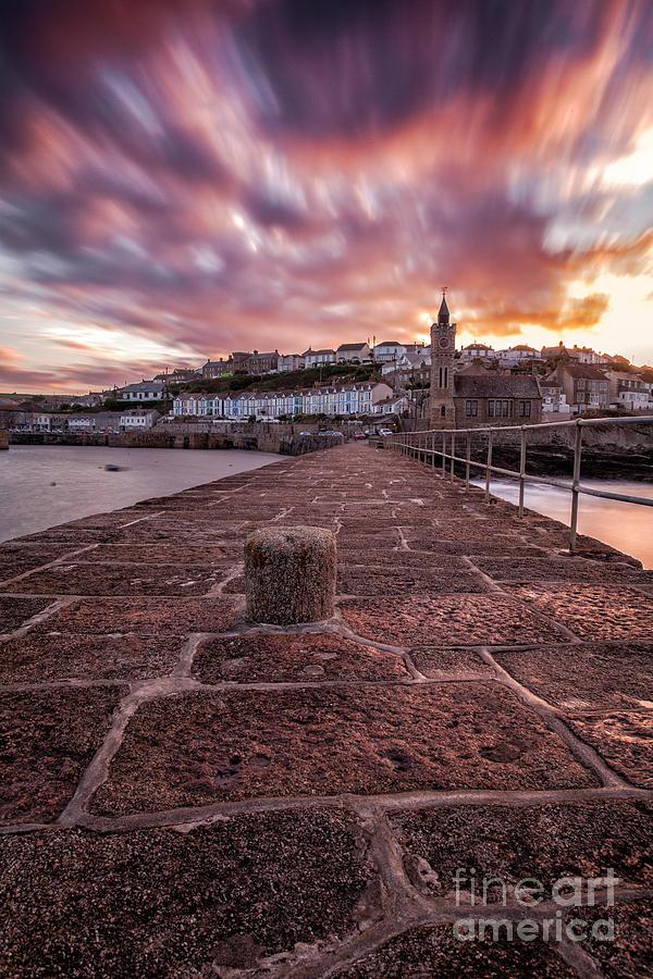 Cornish Photograph - Porthleven Pier Sunrise by John Farnan