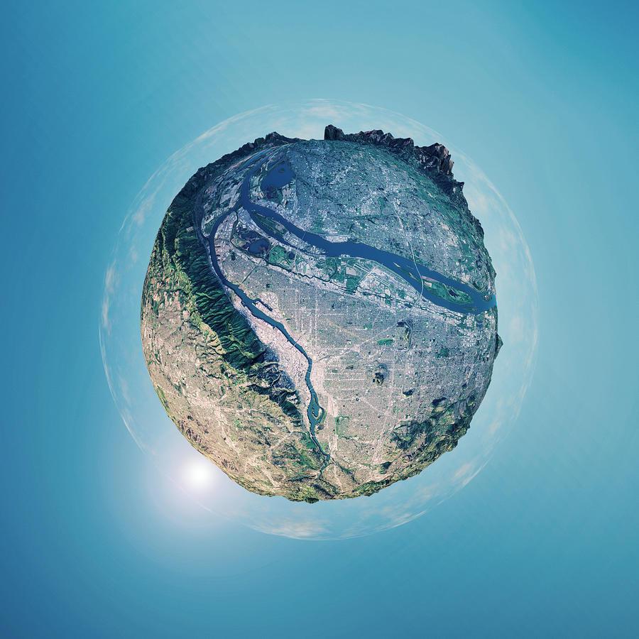 Portland 3d Little Planet 360-degree Sphere Panorama Photograph by FrankRamspott