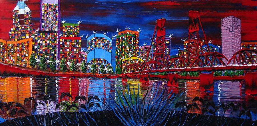 City Bridges Painting - Portland City Lights 33 by Portland Art Creations